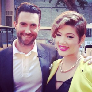Tessanne Chin with her coach Adam Levine