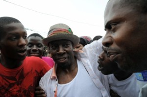 Shabba Ranks greeted by supporters in 2012