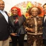 Marcia Griffiths, Judy Mowat, and Chris Chin of VP Records
